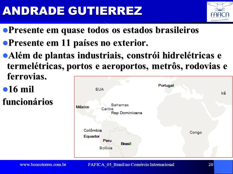 FAFICA_05_Brasil no Comércio Internacional20 ANDRADE GUTIERREZ Presente em quase todos os estados brasileiros Presente em quase todos os estados brasi