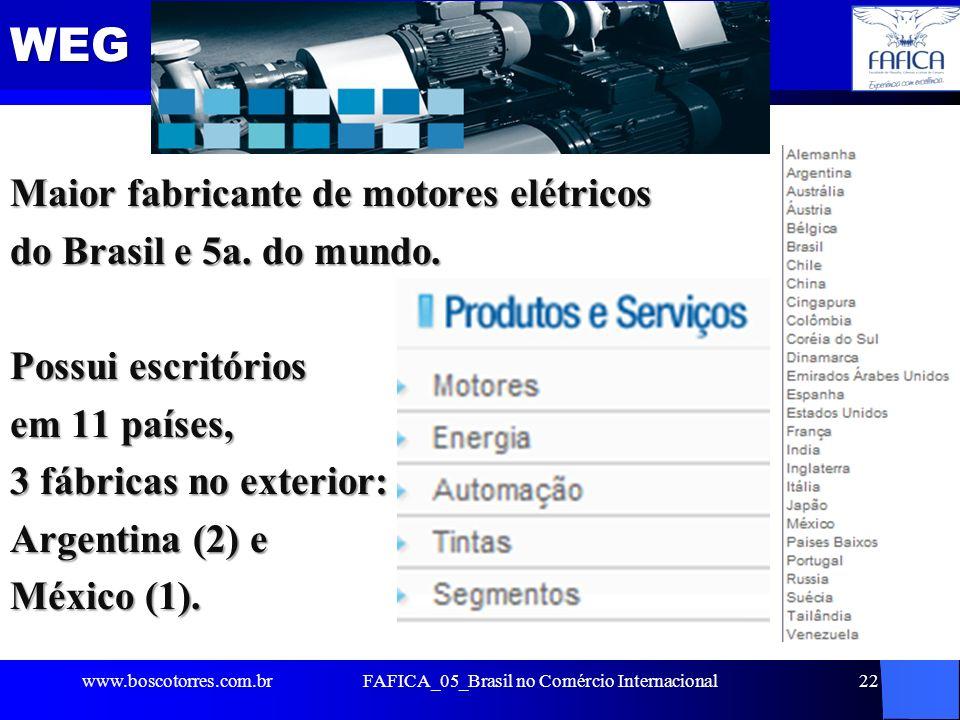 WEG Maior fabricante de motores elétricos do Brasil e 5a. do mundo. Possui escritórios em 11 países, 3 fábricas no exterior: Argentina (2) e México (1