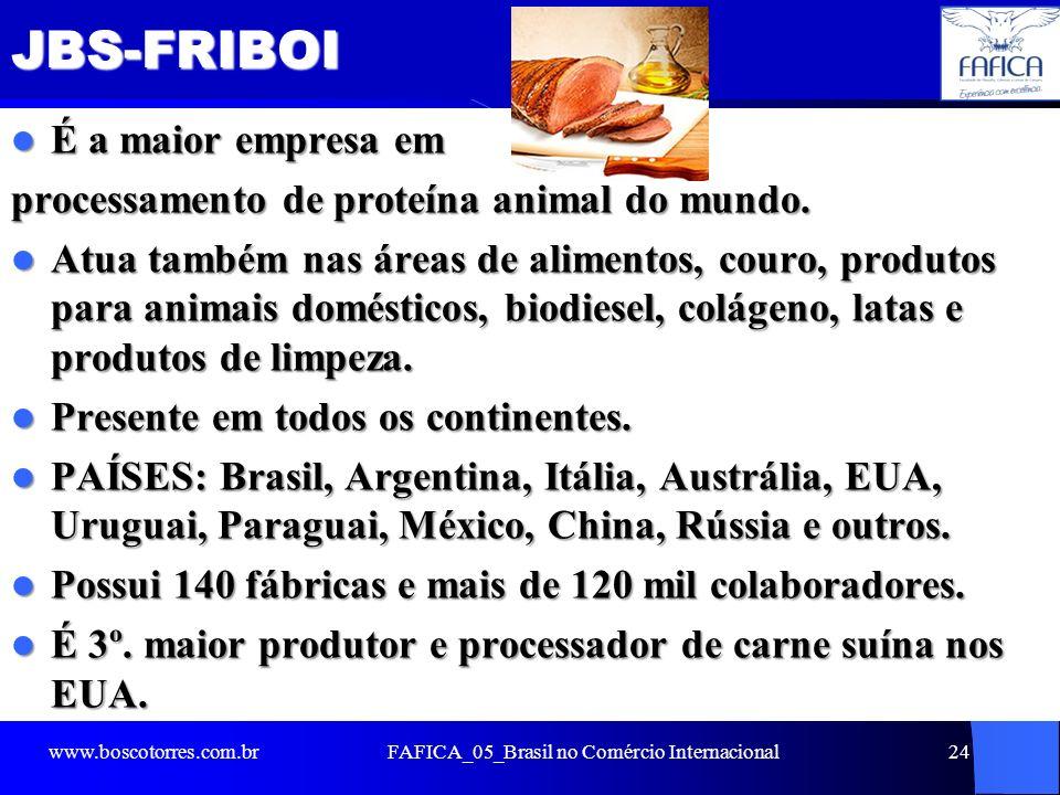 JBS-FRIBOI É a maior empresa em É a maior empresa em processamento de proteína animal do mundo. Atua também nas áreas de alimentos, couro, produtos pa