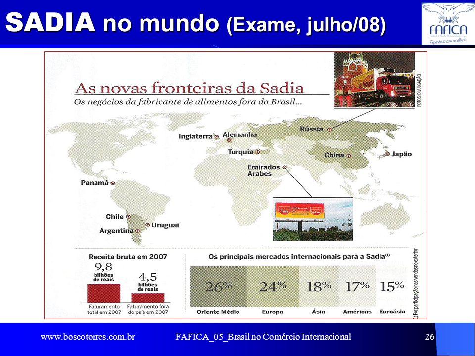 SADIA no mundo (Exame, julho/08). www.boscotorres.com.brFAFICA_05_Brasil no Comércio Internacional26