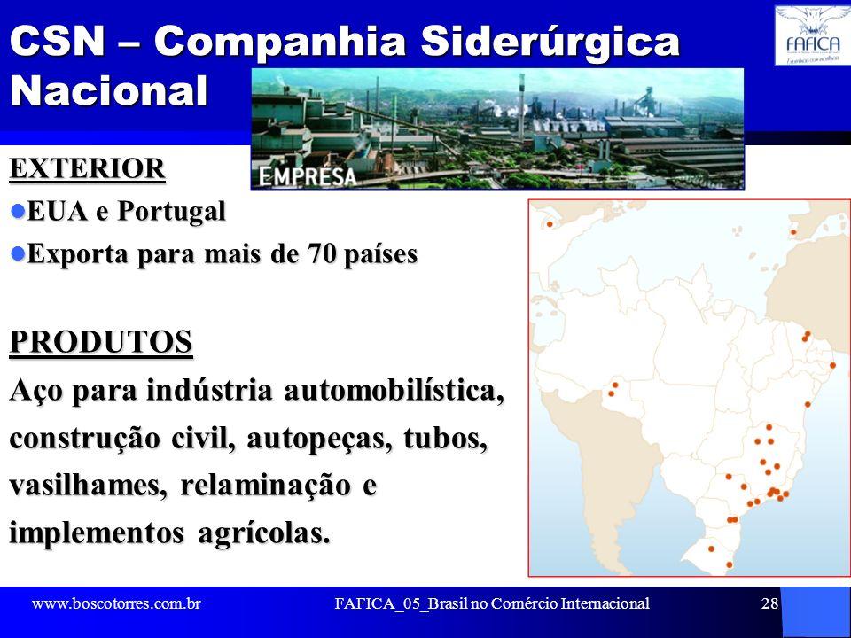 CSN – Companhia Siderúrgica Nacional EXTERIOR EUA e Portugal EUA e Portugal Exporta para mais de 70 países Exporta para mais de 70 paísesPRODUTOS Aço