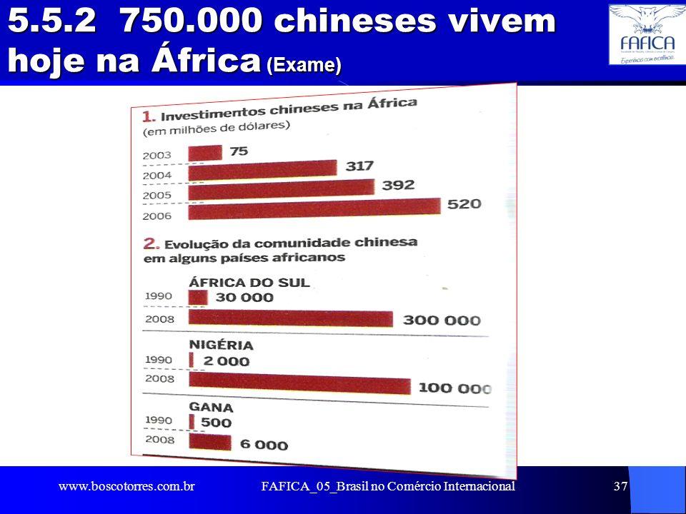 5.5.2 750.000 chineses vivem hoje na África (Exame). www.boscotorres.com.brFAFICA_05_Brasil no Comércio Internacional37
