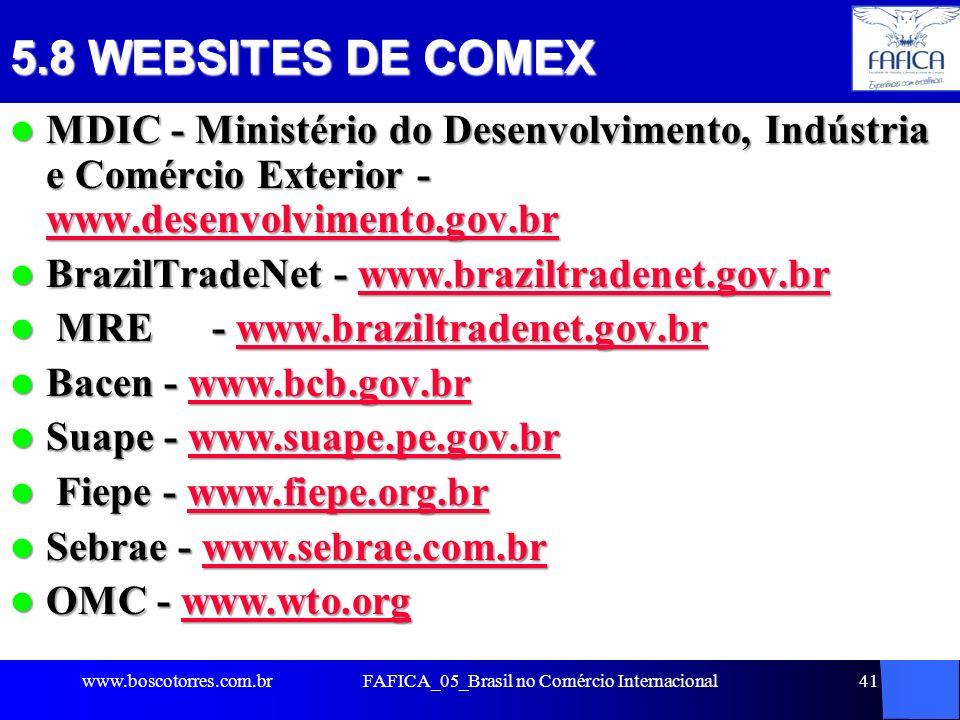 41 5.8 WEBSITES DE COMEX MDIC - Ministério do Desenvolvimento, Indústria e Comércio Exterior - www.desenvolvimento.gov.br MDIC - Ministério do Desenvo