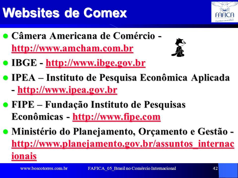 42 Websites de Comex Câmera Americana de Comércio - http://www.amcham.com.br Câmera Americana de Comércio - http://www.amcham.com.br http://www.amcham