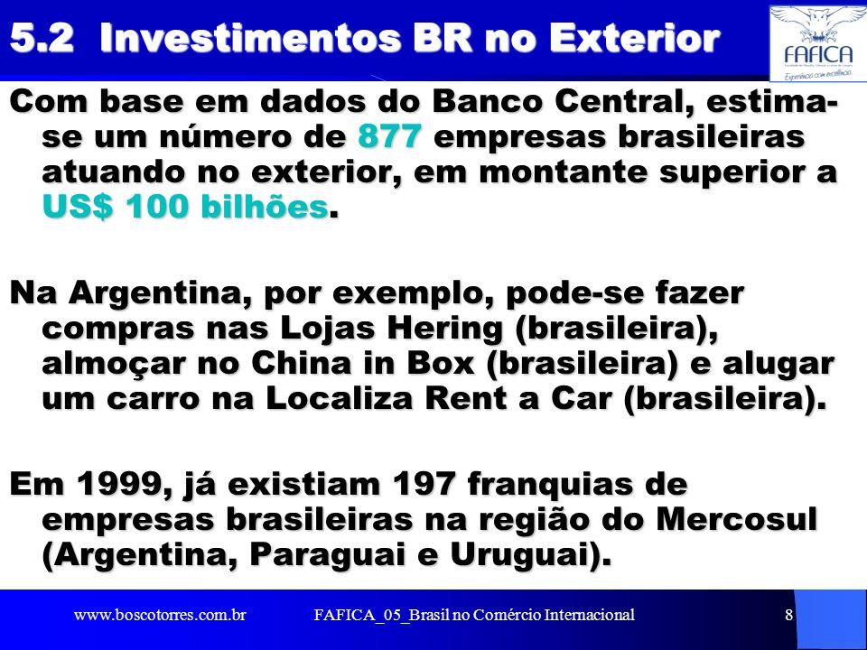 FAFICA_05_Brasil no Comércio Internacional8 5.2 Investimentos BR no Exterior Com base em dados do Banco Central, estima- se um número de 877 empresas