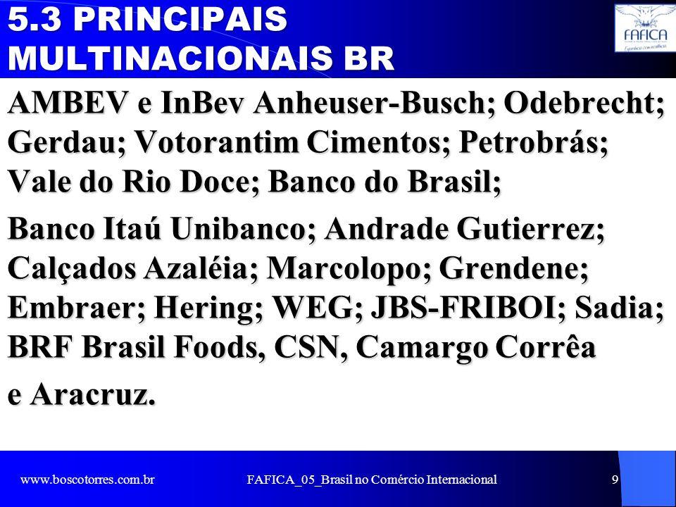 5.3 PRINCIPAIS MULTINACIONAIS BR AMBEV e InBev Anheuser-Busch; Odebrecht; Gerdau; Votorantim Cimentos; Petrobrás; Vale do Rio Doce; Banco do Brasil; B