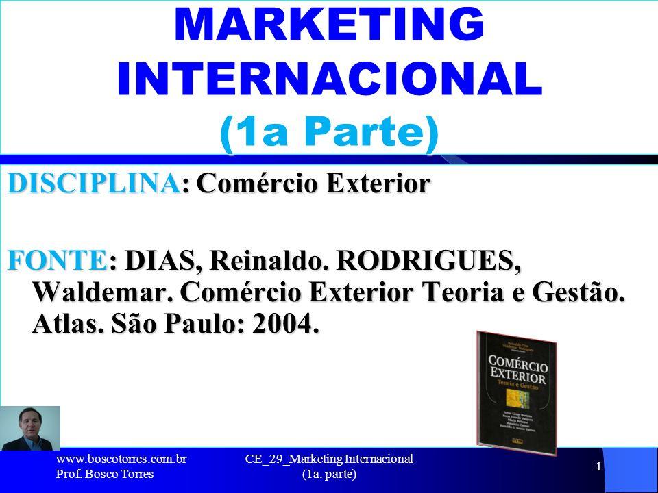 CE_29_Marketing Internacional (1a. parte) 1 MARKETING INTERNACIONAL (1a Parte) DISCIPLINA: Comércio Exterior FONTE: DIAS, Reinaldo. RODRIGUES, Waldema