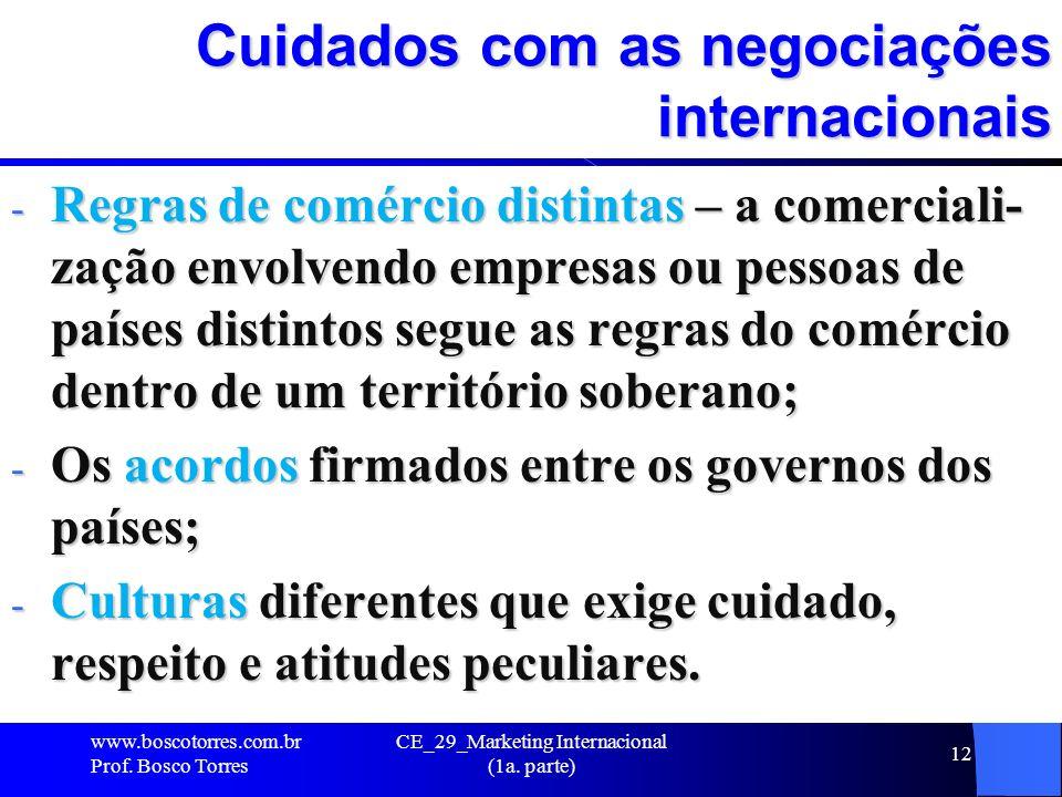 CE_29_Marketing Internacional (1a. parte) 12 Cuidados com as negociações internacionais - Regras de comércio distintas – a comerciali- zação envolvend