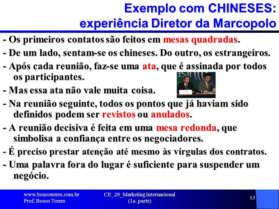 CE_29_Marketing Internacional (1a. parte) 13 Exemplo com CHINESES: experiência Diretor da Marcopolo - Os primeiros contatos são feitos em mesas quadra