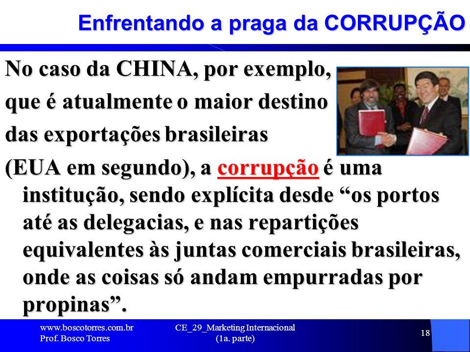 CE_29_Marketing Internacional (1a. parte) 18 Enfrentando a praga da CORRUPÇÃO No caso da CHINA, por exemplo, que é atualmente o maior destino das expo