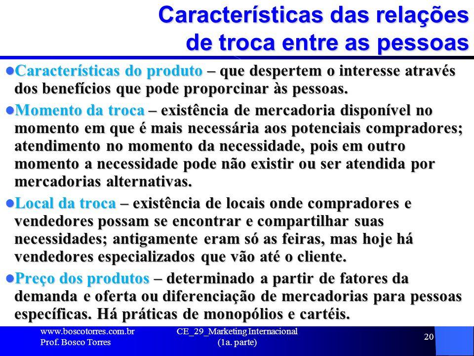 CE_29_Marketing Internacional (1a. parte) 20 Características das relações de troca entre as pessoas Características do produto – que despertem o inter