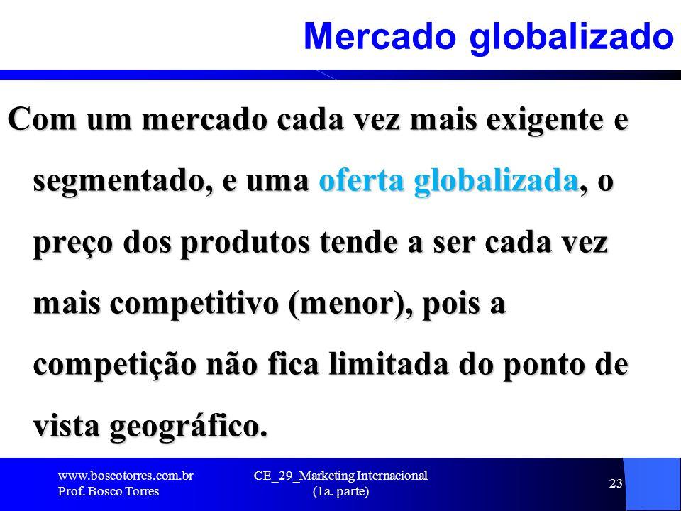 CE_29_Marketing Internacional (1a. parte) 23 Mercado globalizado Com um mercado cada vez mais exigente e segmentado, e uma oferta globalizada, o preço