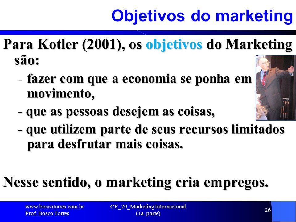 CE_29_Marketing Internacional (1a. parte) 26 Objetivos do marketing Para Kotler (2001), os objetivos do Marketing são: - fazer com que a economia se p
