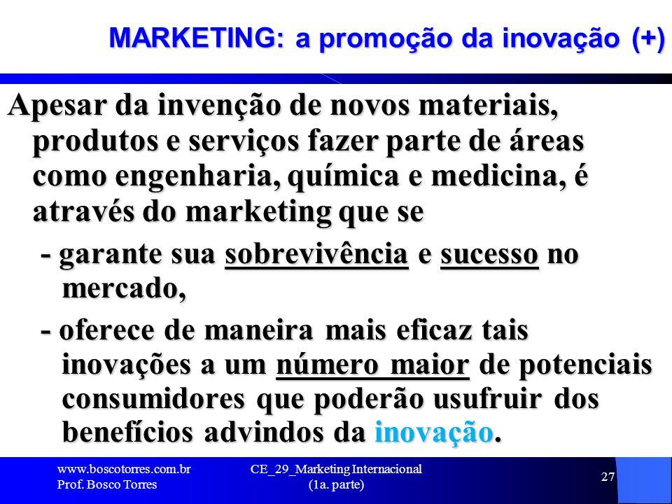 CE_29_Marketing Internacional (1a. parte) 27 MARKETING: a promoção da inovação (+) Apesar da invenção de novos materiais, produtos e serviços fazer pa