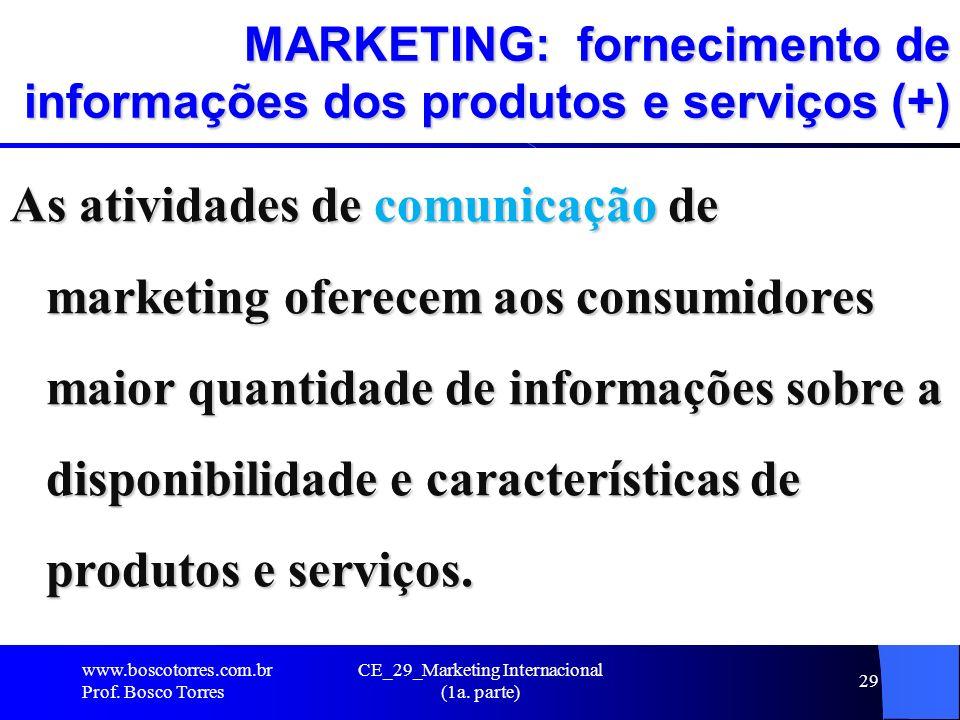 CE_29_Marketing Internacional (1a. parte) 29 MARKETING: fornecimento de informações dos produtos e serviços (+) As atividades de comunicação de market