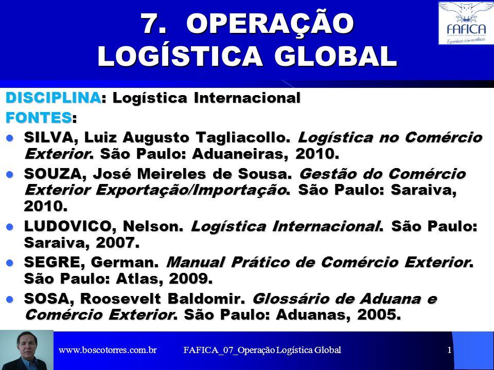 FAFICA_07_Operação Logística Global1 7. OPERAÇÃO LOGÍSTICA GLOBAL DISCIPLINA: Logística Internacional FONTES: SILVA, Luiz Augusto Tagliacollo. Logísti