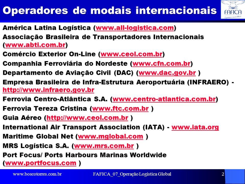 Operadores de modais internacionais América Latina Logística (www.all-logistica.com) www.all-logistica.com Associação Brasileira de Transportadores In