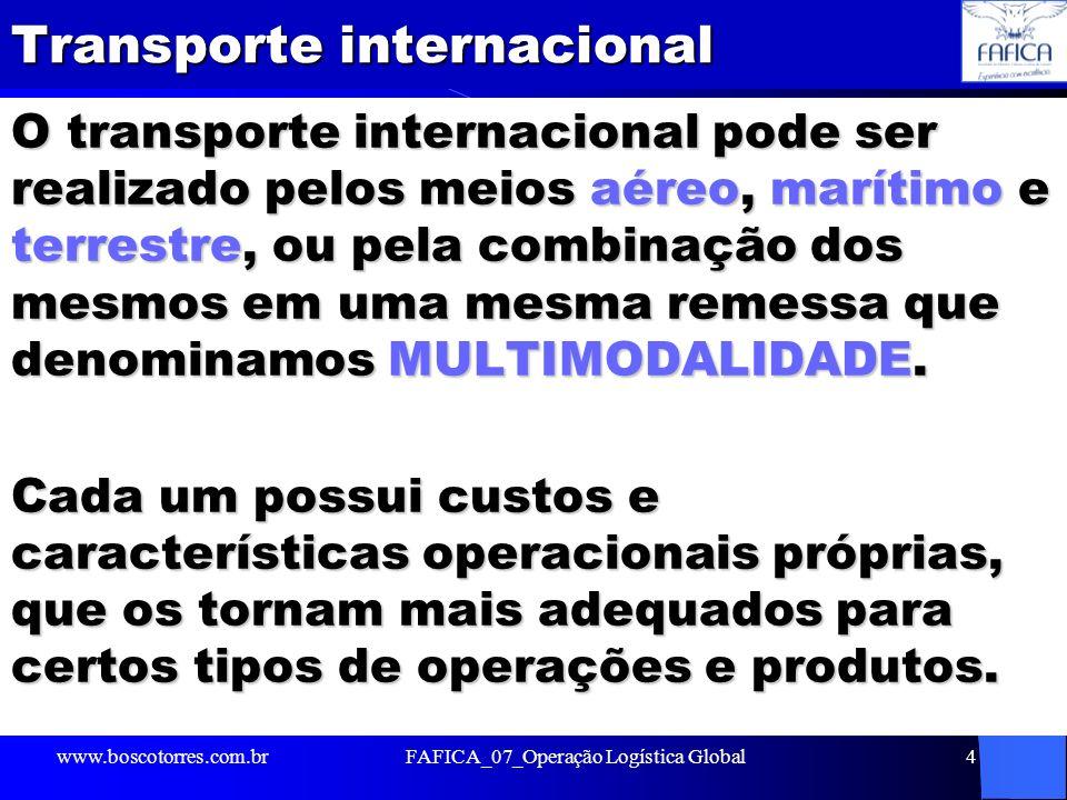 Transporte internacional O transporte internacional pode ser realizado pelos meios aéreo, marítimo e terrestre, ou pela combinação dos mesmos em uma m