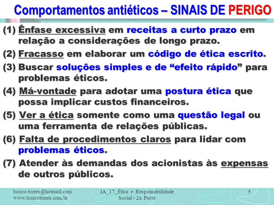 Comportamentos antiéticos – SINAIS DE PERIGO (1)Ênfase excessiva em receitas a curto prazo em relação a considerações de longo prazo. (2)Fracasso em e