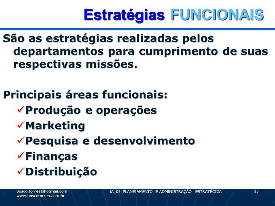 Estratégias FUNCIONAIS Estratégias FUNCIONAIS São as estratégias realizadas pelos departamentos para cumprimento de suas respectivas missões. Principa