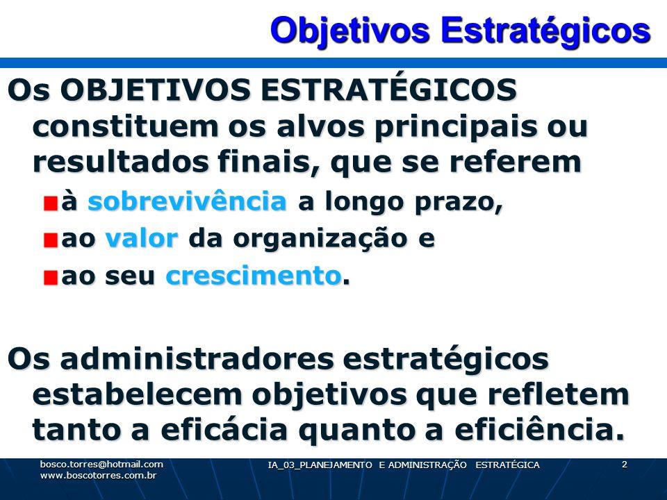 Fixação dos Objetivos Estratégicos Para a fixação dos Objetivos Estratégicos deve-se incluir as seguintes medidas: Retorno dos acionistas, Lucratividade, Quantidade e qualidade dos resultados, Participação no mercado, Produtividade e Contribuições para a sociedade.