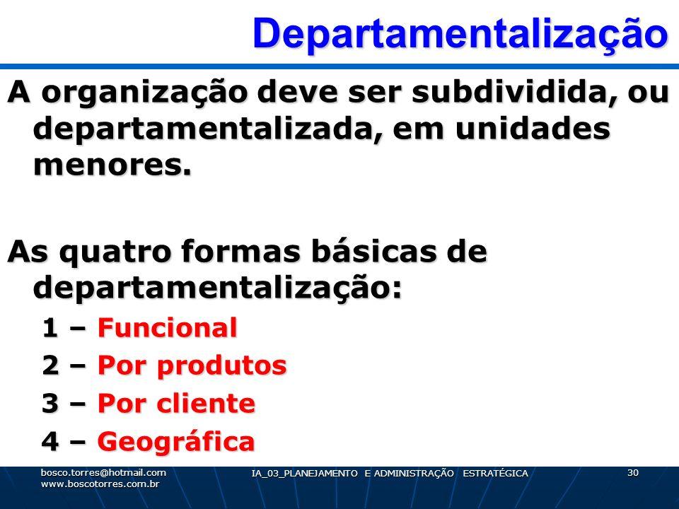 Departamentalização Departamentalização A organização deve ser subdividida, ou departamentalizada, em unidades menores. As quatro formas básicas de de