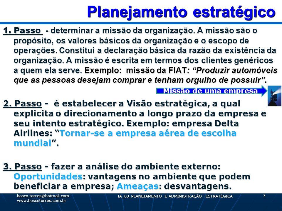 Planejamento estratégico Planejamento estratégico 1. Passo - determinar a missão da organização. A missão são o propósito, os valores básicos da organ