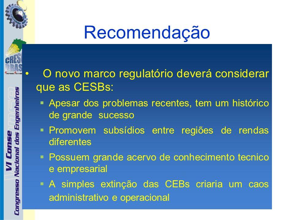 Recomendação O novo marco regulatório deverá considerar que as CESBs: Apesar dos problemas recentes, tem um histórico de grande sucesso Promovem subsí