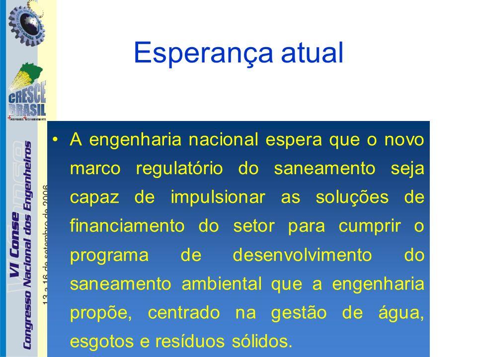 Esperança atual A engenharia nacional espera que o novo marco regulatório do saneamento seja capaz de impulsionar as soluções de financiamento do seto
