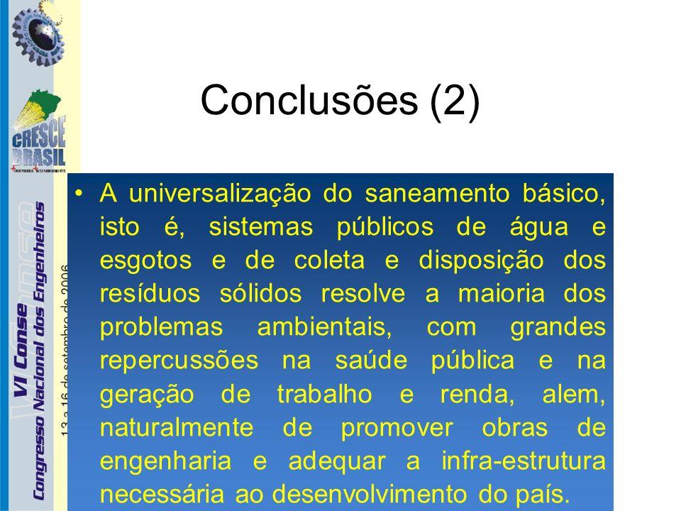 Conclusões (2) A universalização do saneamento básico, isto é, sistemas públicos de água e esgotos e de coleta e disposição dos resíduos sólidos resol
