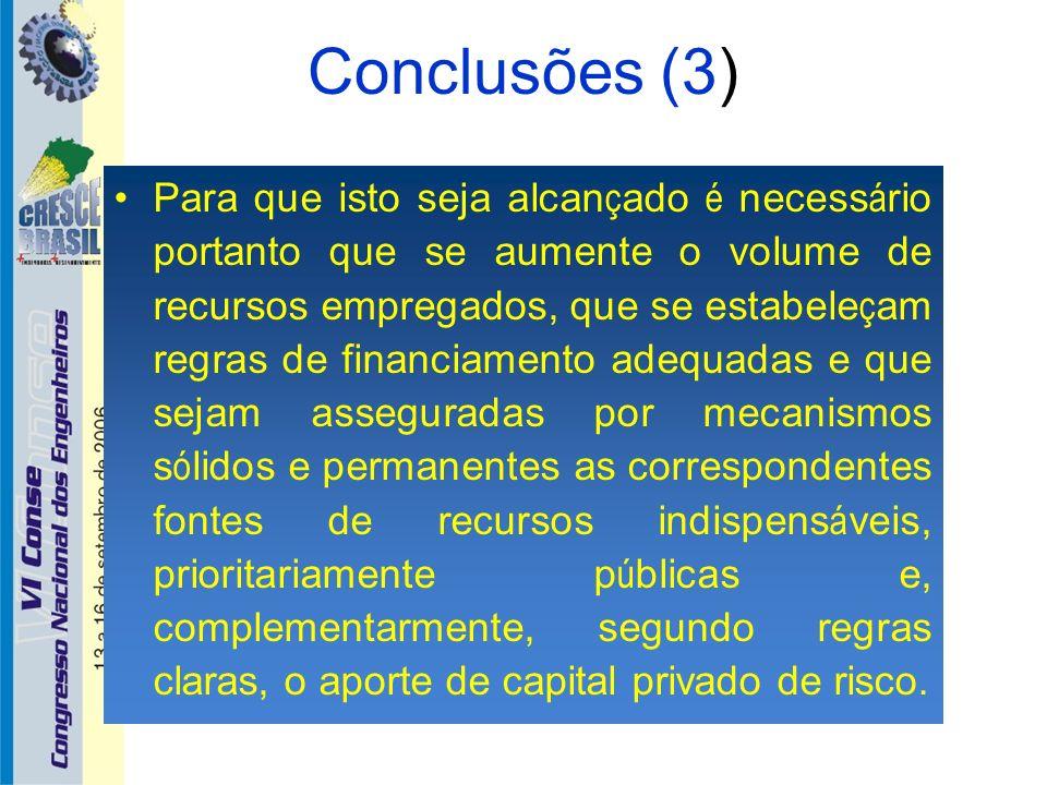 Conclusões (3) Para que isto seja alcan ç ado é necess á rio portanto que se aumente o volume de recursos empregados, que se estabele ç am regras de f