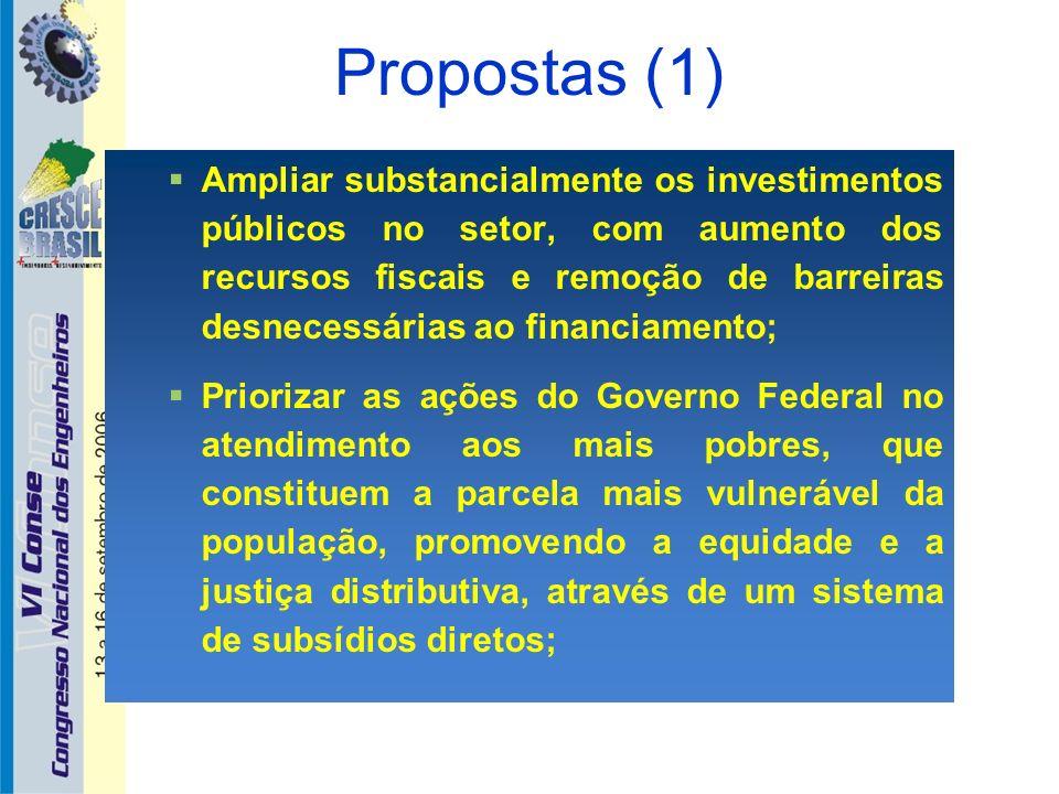 Propostas (1) Ampliar substancialmente os investimentos públicos no setor, com aumento dos recursos fiscais e remoção de barreiras desnecessárias ao f