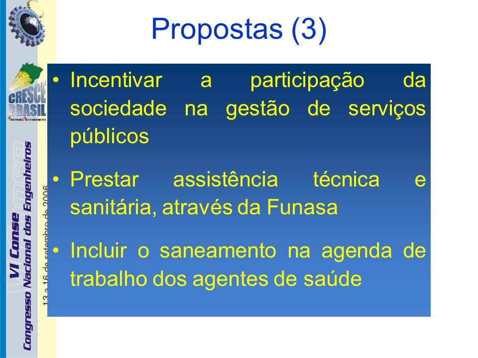Propostas (3) Incentivar a participação da sociedade na gestão de serviços públicos Prestar assistência técnica e sanitária, através da Funasa Incluir
