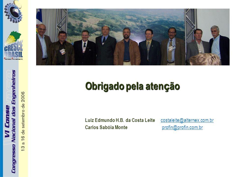Obrigado pela aten ç ão Luiz Edmundo H.B. da Costa Leite costaleite@alternex.com.brcostaleite@alternex.com.br Carlos Sabóia Monte profin@profin.com.br