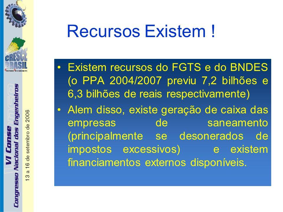 Recursos Existem ! Existem recursos do FGTS e do BNDES (o PPA 2004/2007 previu 7,2 bilhões e 6,3 bilhões de reais respectivamente) Alem disso, existe