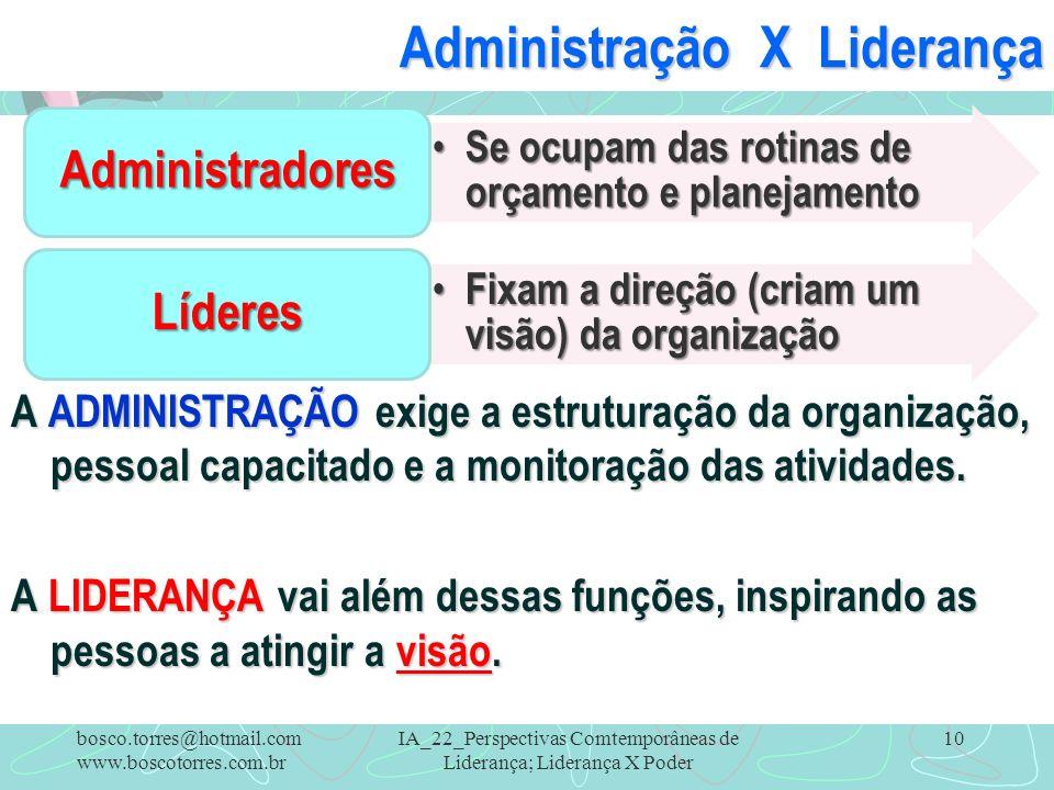 IA_22_Perspectivas Comtemporâneas de Liderança; Liderança X Poder 10 Administração X Liderança A ADMINISTRAÇÃO exige a estruturação da organização, pe