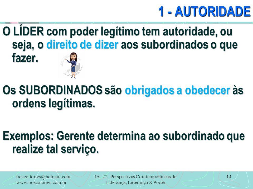IA_22_Perspectivas Comtemporâneas de Liderança; Liderança X Poder 14 1 - AUTORIDADE O LÍDER com poder legítimo tem autoridade, ou seja, o direito de d