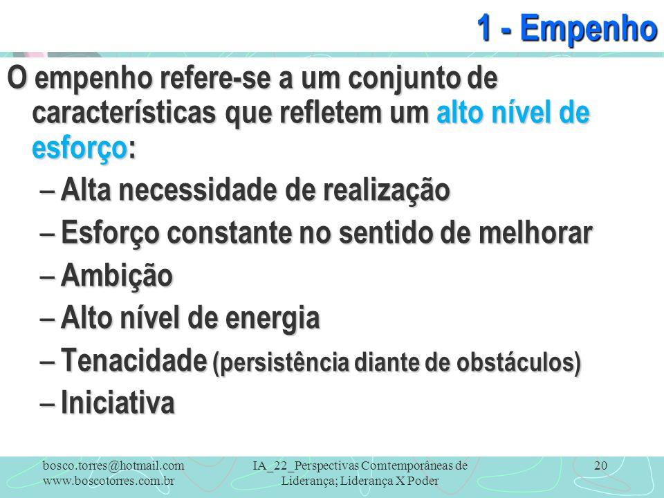 IA_22_Perspectivas Comtemporâneas de Liderança; Liderança X Poder 20 1 - Empenho O empenho refere-se a um conjunto de características que refletem um