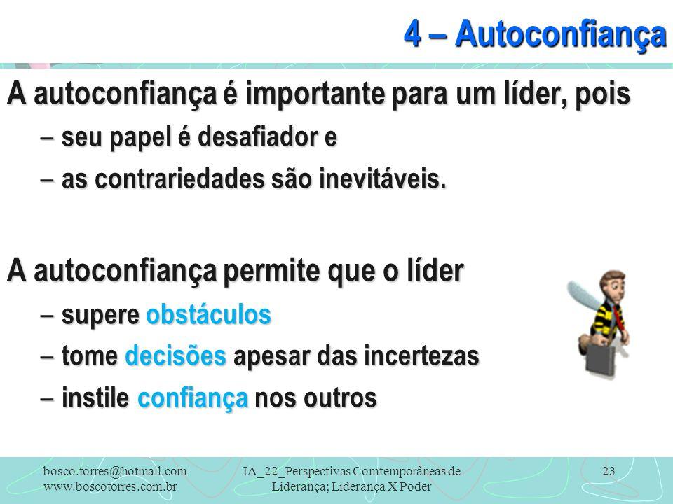 IA_22_Perspectivas Comtemporâneas de Liderança; Liderança X Poder 23 4 – Autoconfiança A autoconfiança é importante para um líder, pois – seu papel é