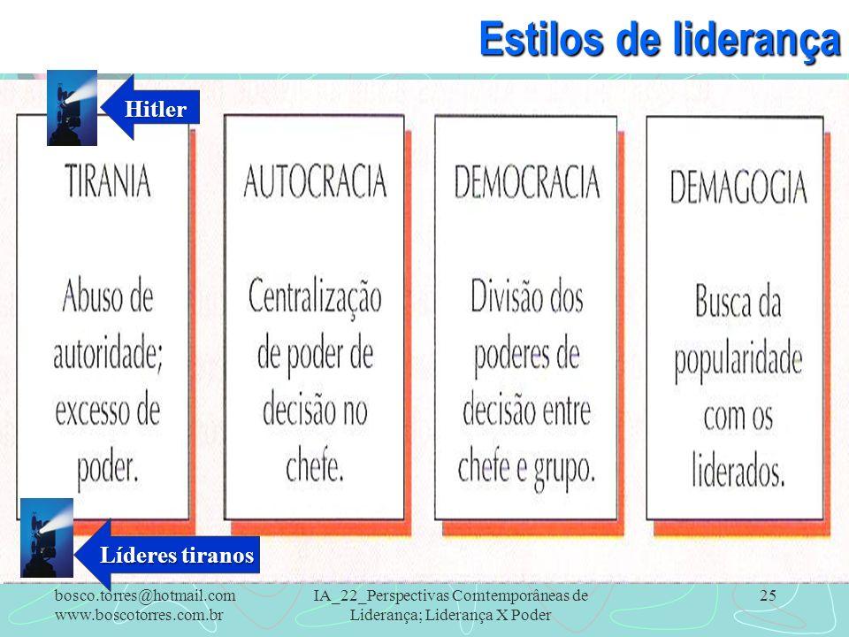IA_22_Perspectivas Comtemporâneas de Liderança; Liderança X Poder 25 Estilos de liderança. bosco.torres@hotmail.com www.boscotorres.com.br Hitler Líde