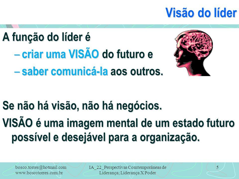 IA_22_Perspectivas Comtemporâneas de Liderança; Liderança X Poder 5 Visão do líder A função do líder é – criar uma VISÃO do futuro e – saber comunicá-