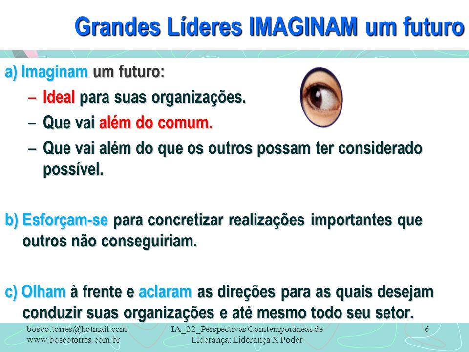 IA_22_Perspectivas Comtemporâneas de Liderança; Liderança X Poder 6 Grandes Líderes IMAGINAM um futuro a) Imaginam um futuro: – Ideal para suas organi