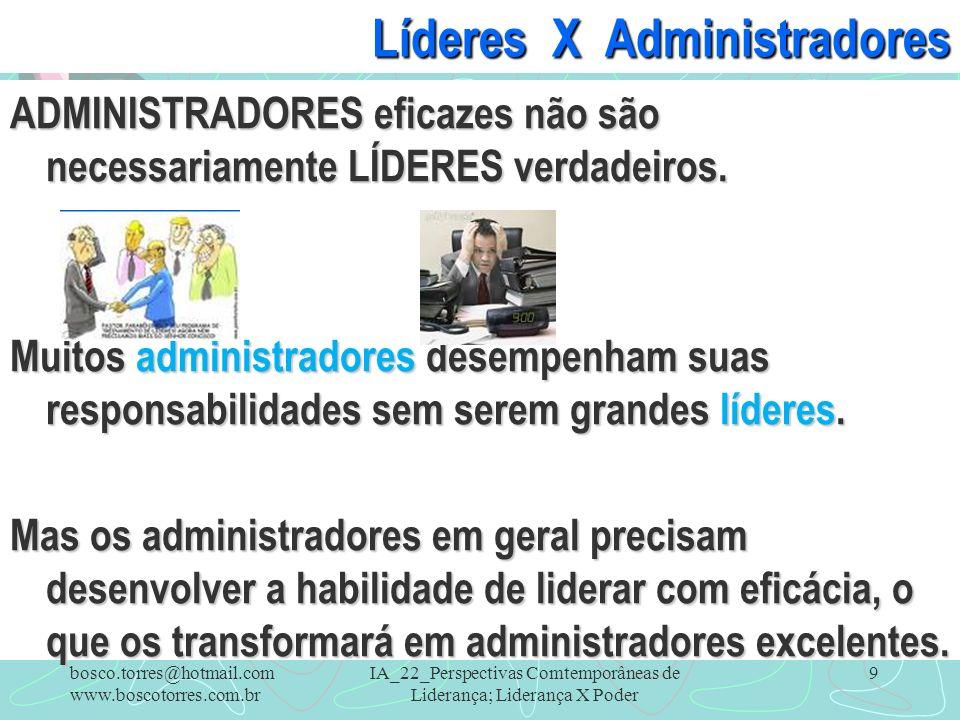 IA_22_Perspectivas Comtemporâneas de Liderança; Liderança X Poder 9 Líderes X Administradores ADMINISTRADORES eficazes não são necessariamente LÍDERES
