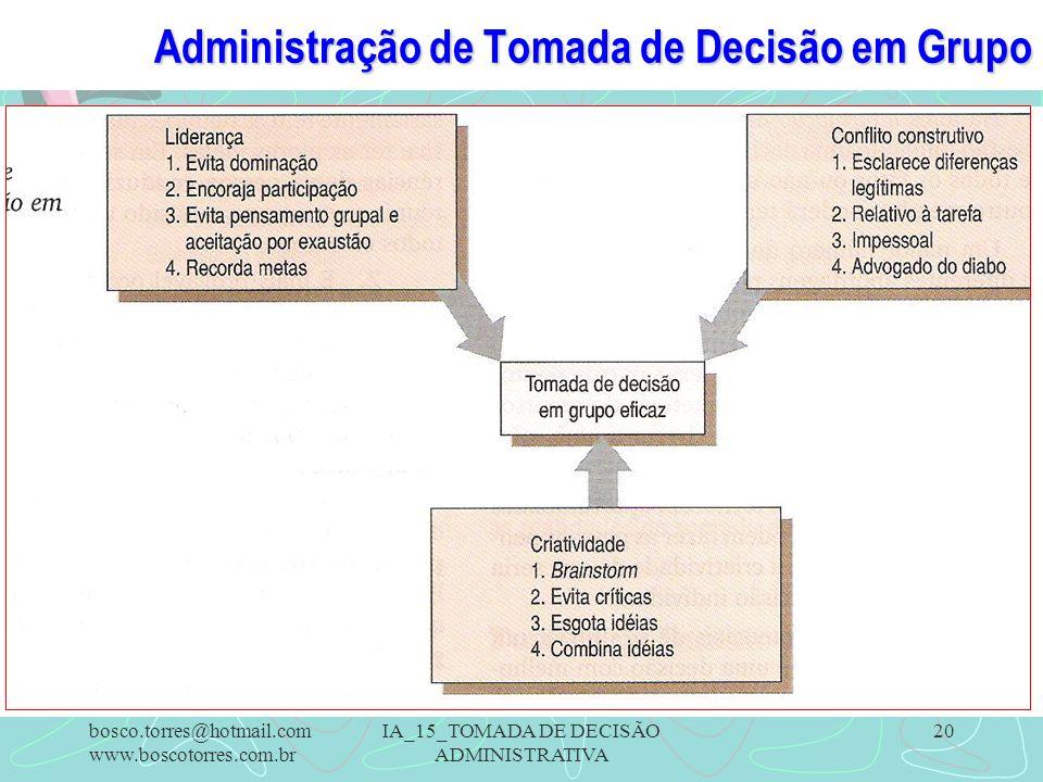 Administração de Tomada de Decisão em Grupo.