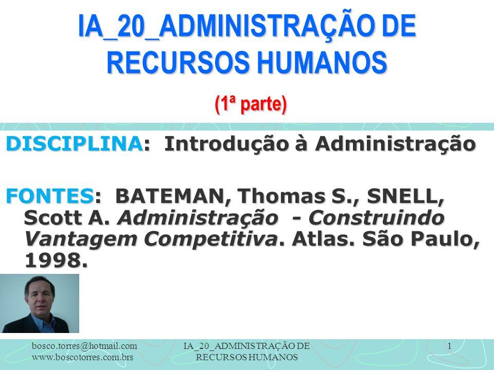 IA_20_ADMINISTRAÇÃO DE RECURSOS HUMANOS 1 IA_20_ADMINISTRAÇÃO DE RECURSOS HUMANOS (1ª parte) DISCIPLINA: Introdução à Administração FONTES: BATEMAN, Thomas S., SNELL, Scott A.