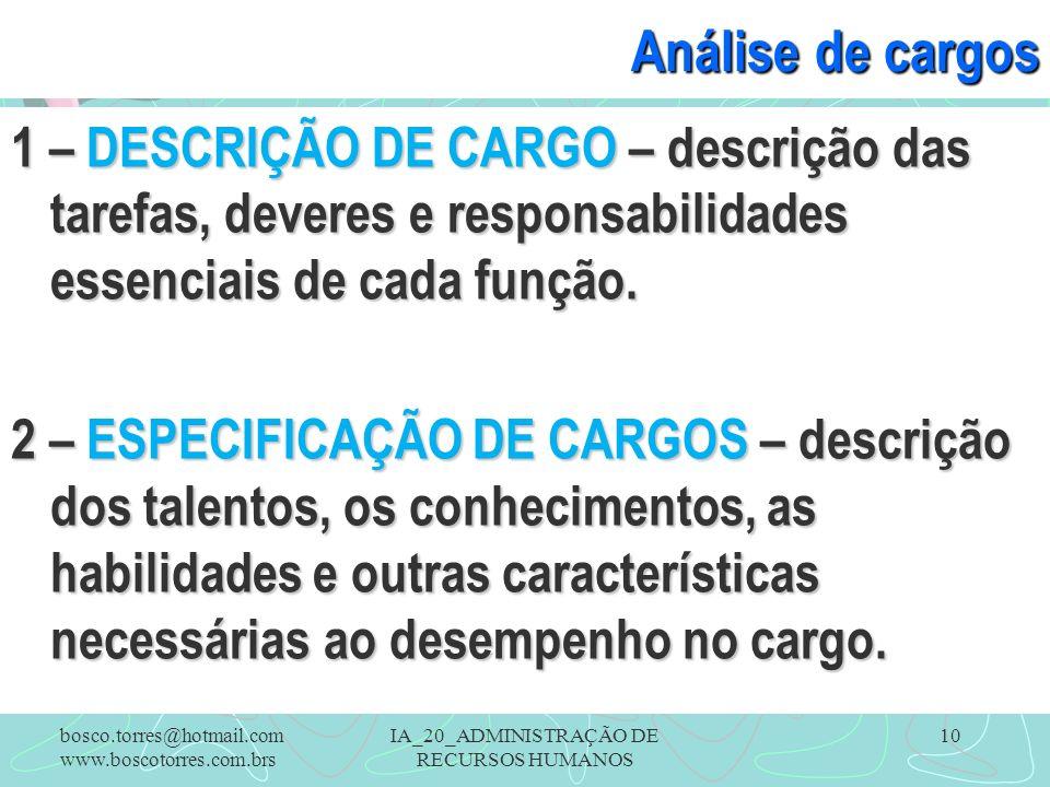 IA_20_ADMINISTRAÇÃO DE RECURSOS HUMANOS 10 Análise de cargos 1 – DESCRIÇÃO DE CARGO – descrição das tarefas, deveres e responsabilidades essenciais de cada função.