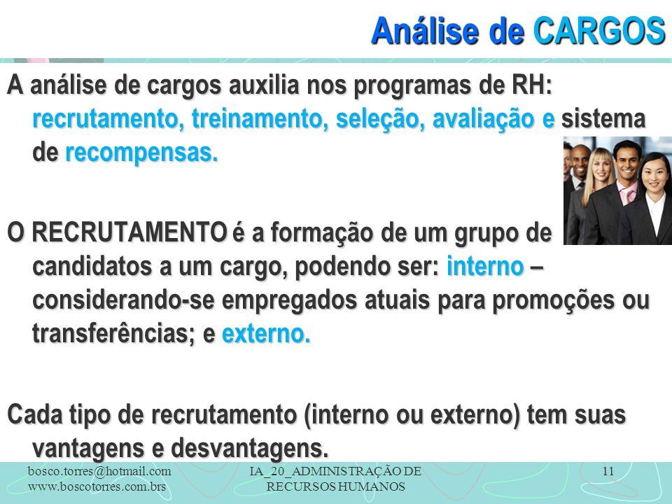 IA_20_ADMINISTRAÇÃO DE RECURSOS HUMANOS 11 Análise de CARGOS A análise de cargos auxilia nos programas de RH: recrutamento, treinamento, seleção, avaliação e sistema de recompensas.