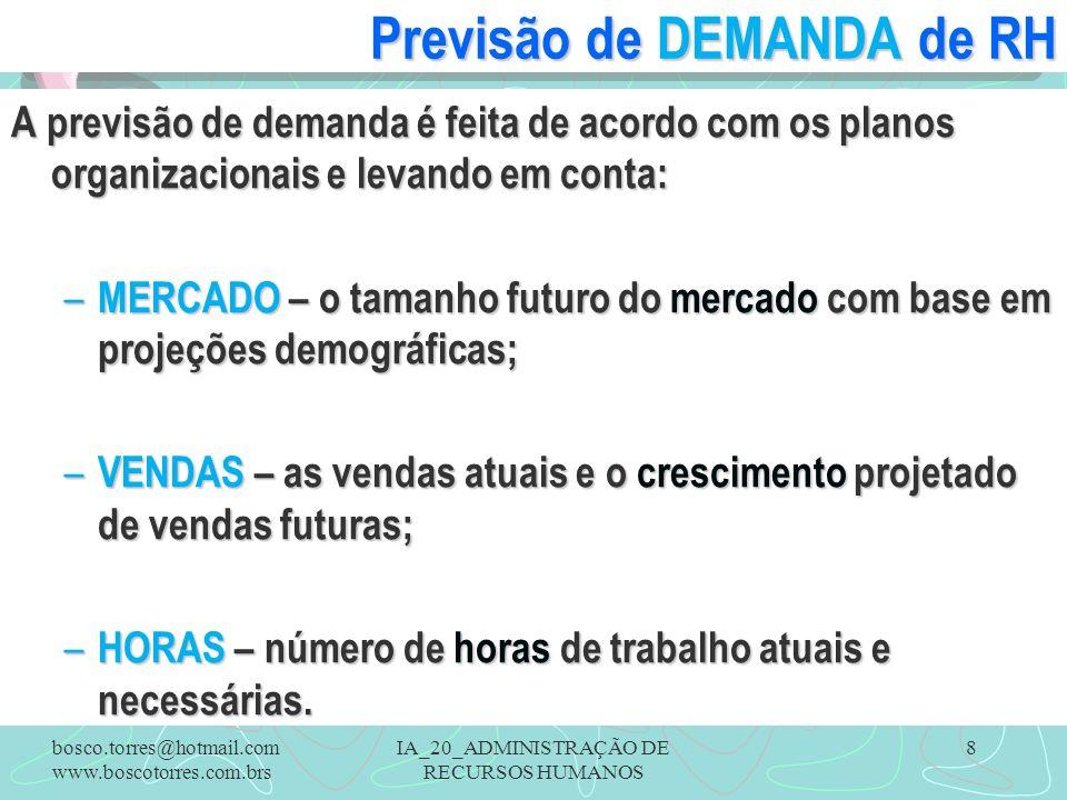 IA_20_ADMINISTRAÇÃO DE RECURSOS HUMANOS 8 Previsão de DEMANDA de RH A previsão de demanda é feita de acordo com os planos organizacionais e levando em conta: – MERCADO – o tamanho futuro do mercado com base em projeções demográficas; – VENDAS – as vendas atuais e o crescimento projetado de vendas futuras; – HORAS – número de horas de trabalho atuais e necessárias.