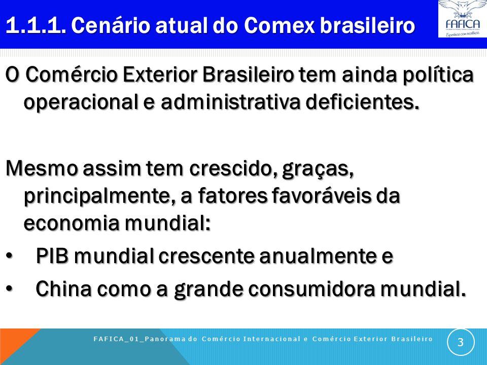 1.1 COMÉRCIO EXTERIOR DO BRASIL Sumário do Capítulo: 1.1.1 Cenário atual do Comex brasileiro 1.1.2 Comex Brasil (US$ bi) 1.1.3 Balança Comercial Brasi