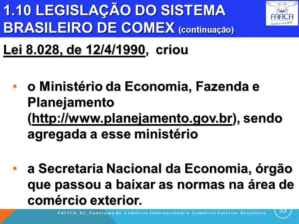1.10 LEGISLAÇÃO DO SISTEMA BRASILEIRO DE COMEX Lei 2.145, de 29-12-1953 Criou a Carteira de Comércio Exterior (CACEX) do Banco do Brasil, com competên